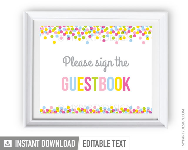 picture about Printable Guest Book referred to as Youngster Sprinkle Occasion , PRINTABLE Visitor Ebook Signal