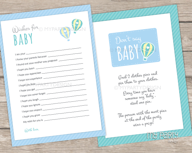 hot air balloon boy baby shower printable baby shower games my party