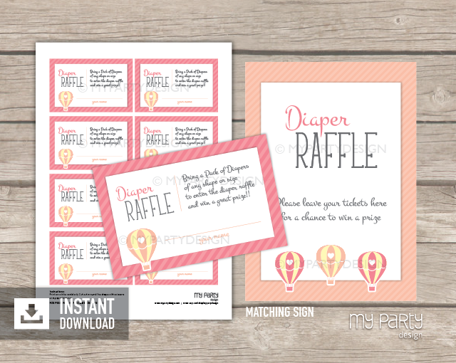 hot air balloon girl baby shower printable diaper raffle tickets and sign