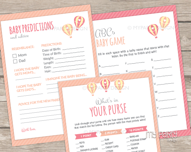 hot air balloon girl baby shower printable baby shower games my
