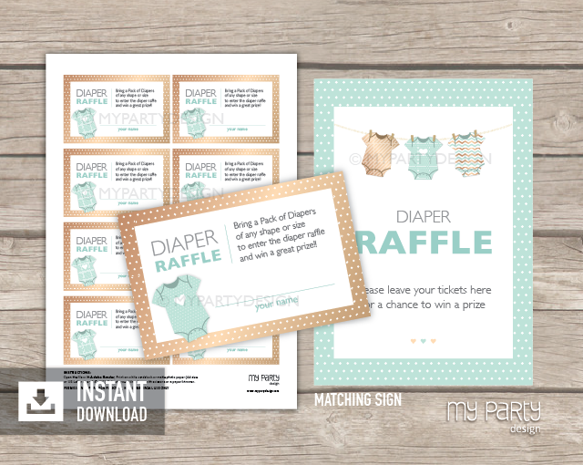 Mint Baby Shower, Bodysuit Theme PRINTABLE Diaper Raffle Tickets And Sign    My Party Design