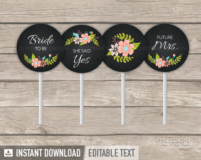 floral bridal shower chalkboard printable cupcake toppers my party design