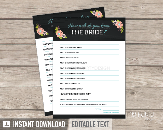 bridal shower party chalkboard floral theme how well do you know the bride printable game my party design