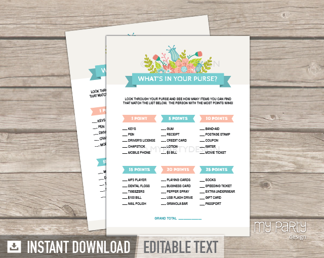 bridal shower party ivory floral theme whats in your purse printable game