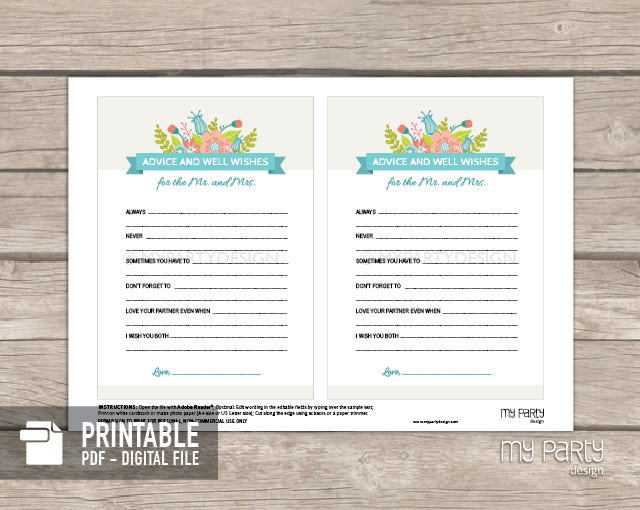 bridal shower party ivory floral theme advice and well wishes printable card my party design