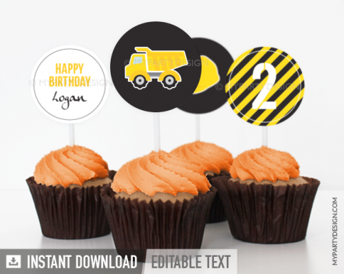 Printable Construction Party cupcake toppers