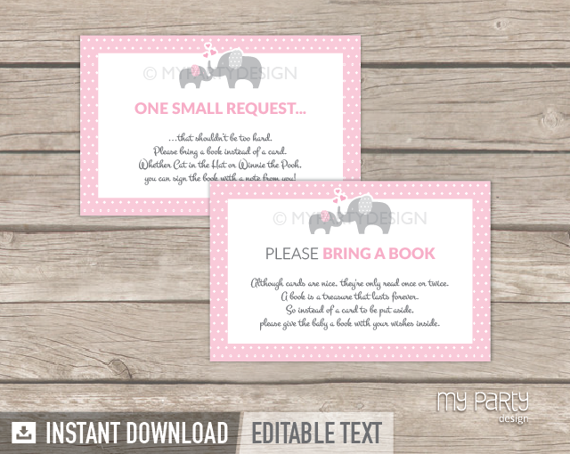 Elephant Girl Baby Shower Printable Bring A Book Card My Party Design