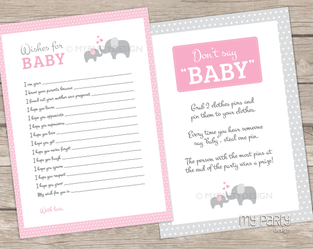 Baby Girl Showers Games ~ Elephant girl baby shower printable games my