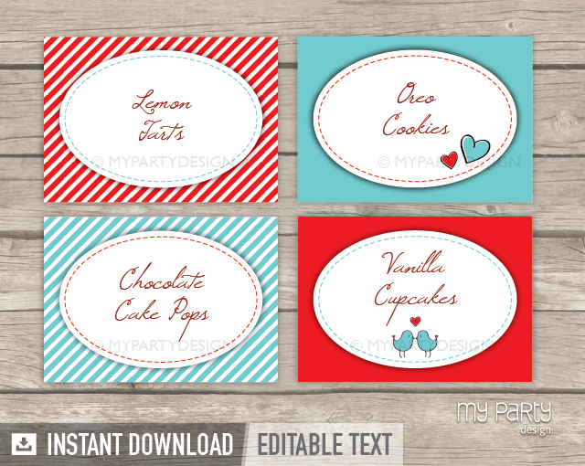 Valentine s day love birds party printable food labels my party