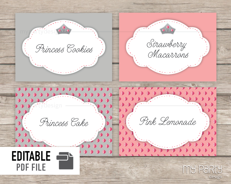 Princess Birthday Party PRINTABLE Food Labels - My Party Design