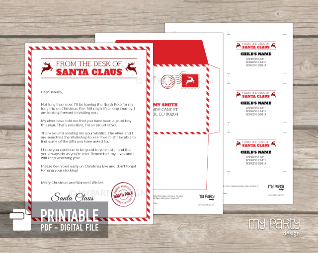 PRINTABLE Letter From Santa kit with Envelope Template - My Party ...