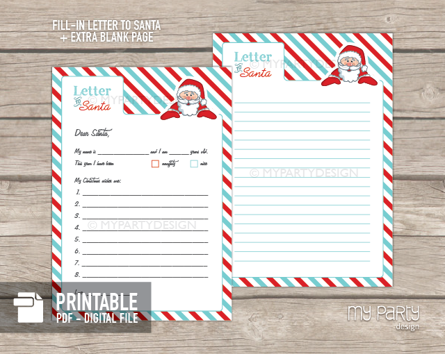 Printable letter to santa kit with envelope template my party design spiritdancerdesigns Image collections
