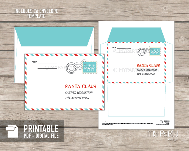 PRINTABLE Letter to Santa kit with Envelope Template My Party Design – Letter Envelope Template