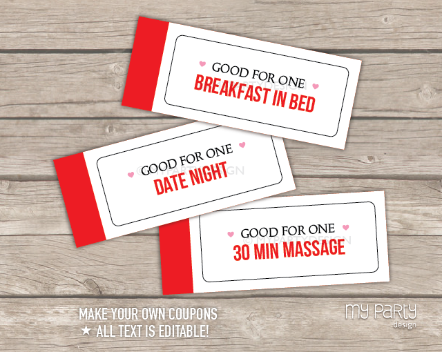 love coupon book red stripes printable pdf my party design