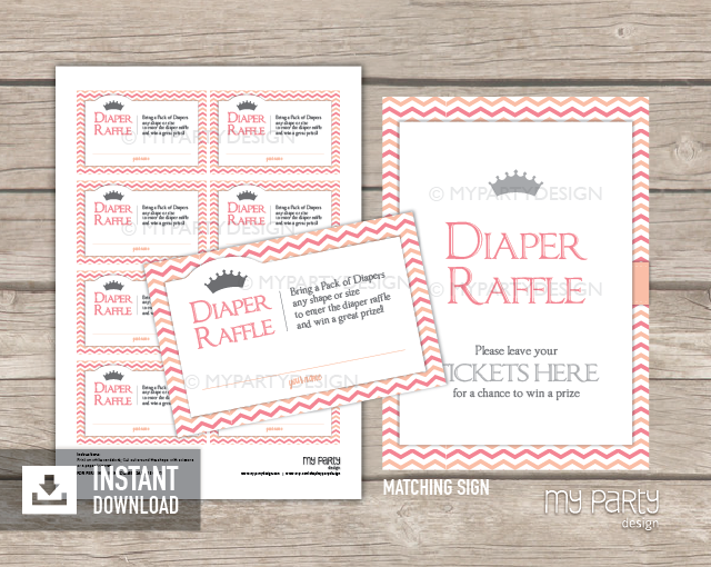 photograph about Printable Diaper Raffle Tickets named Tiny Princess Little one Shower , PRINTABLE Diaper Raffle Tickets and Signal