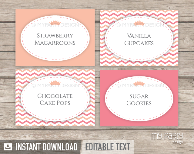 Little Princess Baby Shower PRINTABLE Food Labels - My ...
