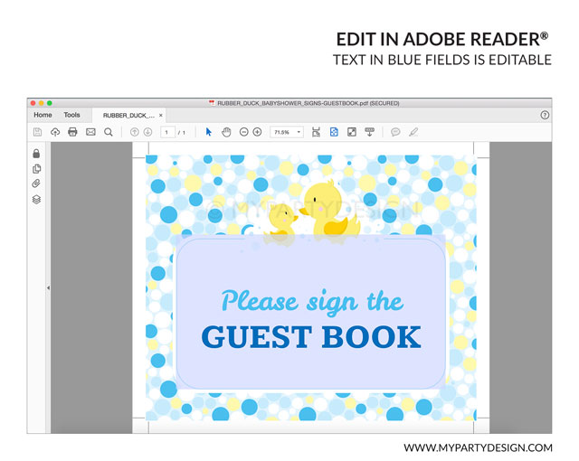 Rubber Duck Baby Shower Printable Guest Book Sign My