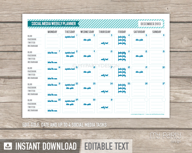 Social media planner printable pdf my party design