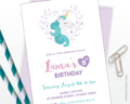 Unicorn party invitation, printable digital file