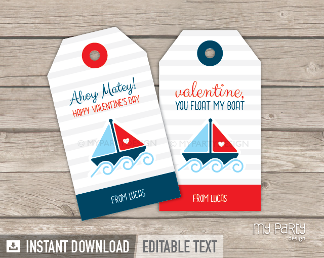 image regarding Valentines Gift Tags Printable known as Valentines Working day Tags , PRINTABLE - Nautical Concept