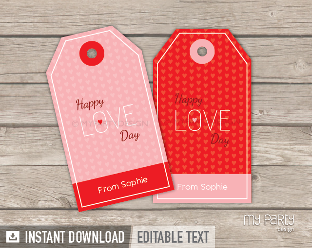 image about Valentine's Day Tags Printable known as Valentines Working day Tags , PRINTABLE - Hearts Topic