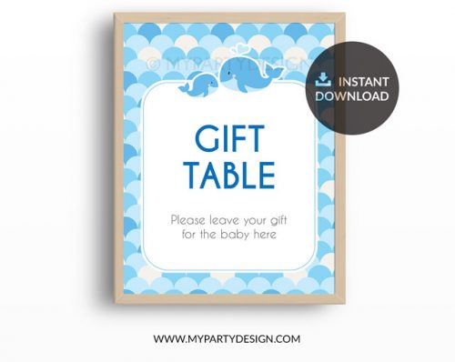 Whale Baby Shower Blue Printable Food Labels My Party Design