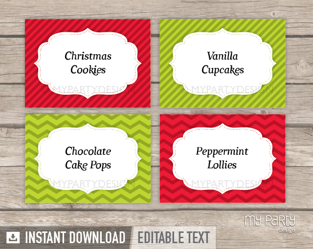 printable christmas food labels my party design