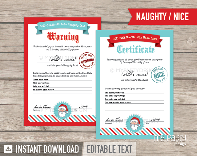 Printable naughty and nice list certificates my party design yelopaper Images