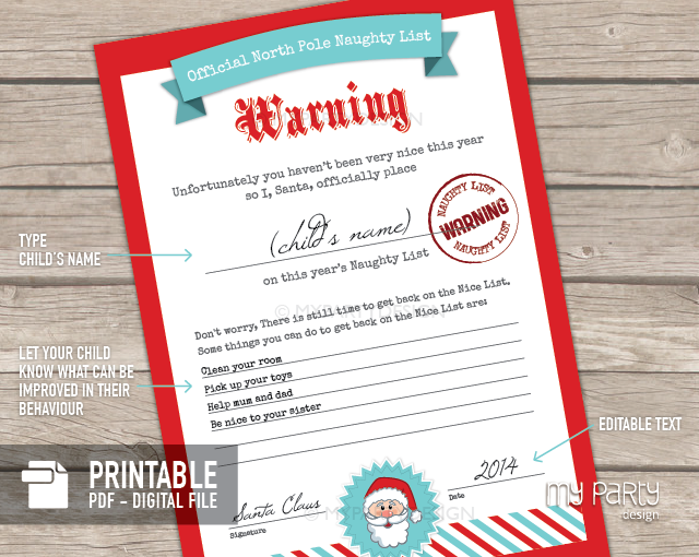 Naughty and Nice List Certificates PRINTABLE PDF - My Party Design