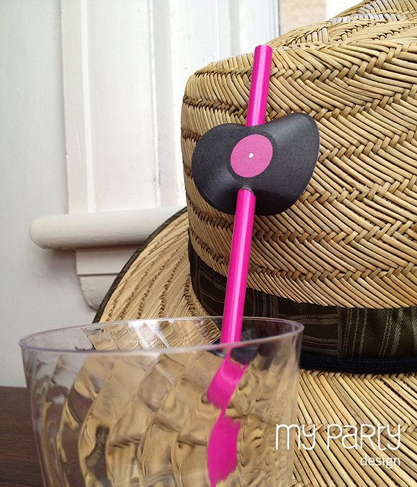 music party straw embelishments
