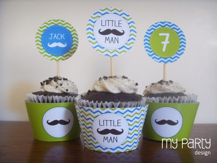 little man party cupcake toppers and wrappers