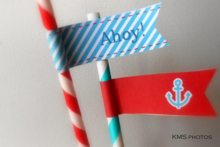 nautical party straws