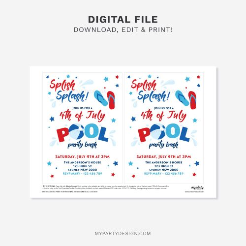 printable 4th of July Pool Party Invitation