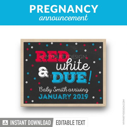 printable pregnancy announcement chalkboard 4th of july print