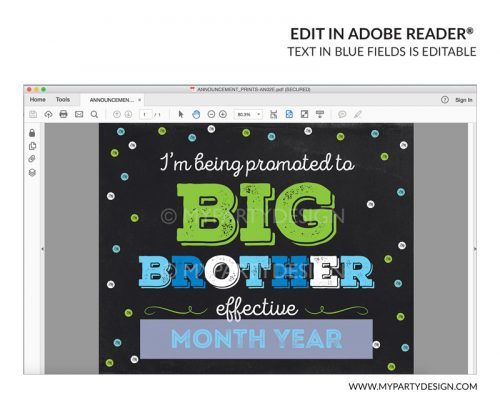 big brother pregnancy announcement sign printable