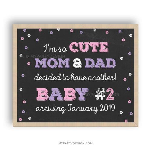 printable pregnancy announcement chalkboard print in pink
