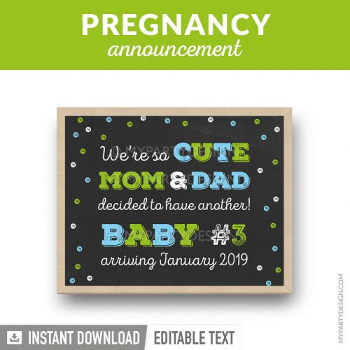 printable pregnancy announcement chalkboard print in blue and green