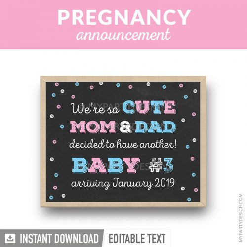 printable pregnancy announcement chalkboard print in pink and blue