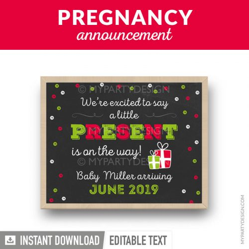christmas printable pregnancy announcement chalkboard