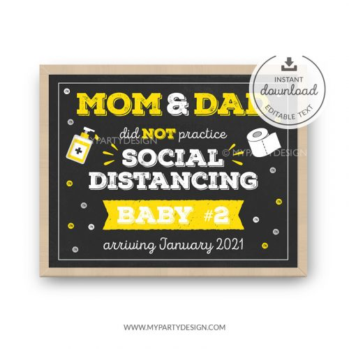 Quarantine Pregnancy Announcement Sign - printable lockdown pregnancy reveal