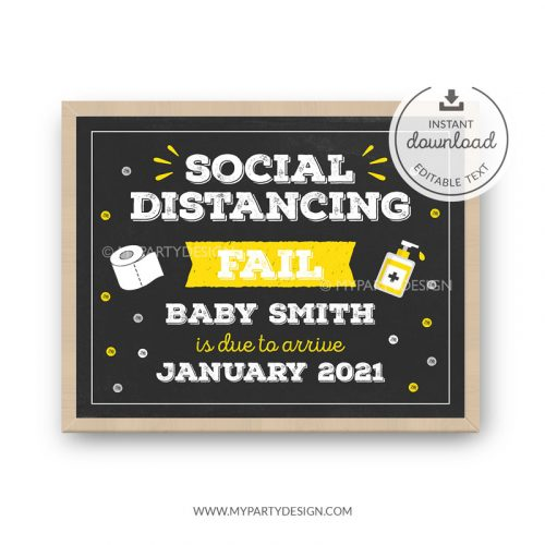 Quarantine Pregnancy Announcement Sign - social distancing fail baby reveal