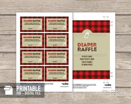 Printable Baby Q Baby diaper raffle tickets and sign