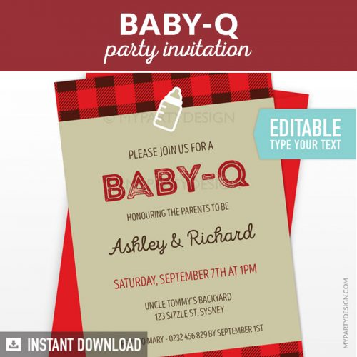 baby-q baby shower party invitation printable