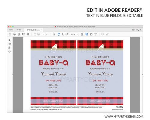 baby q baby shower party invitation - editable printable invite