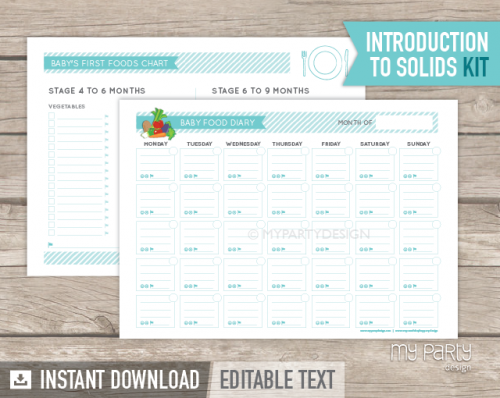 Baby food diary, introduction to solids kit