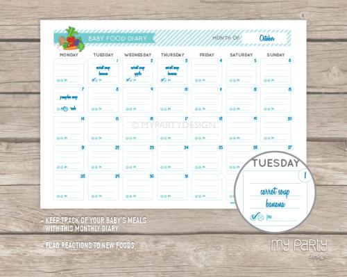 baby food planner printable