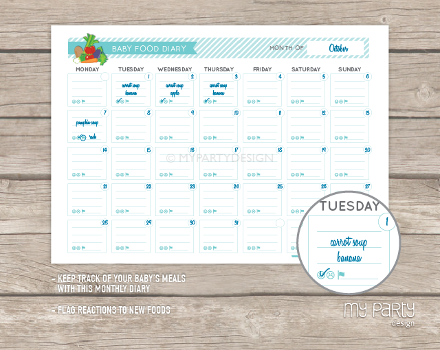 Calendar Design Baby : Baby food diary introduction to solids kit printable pdf