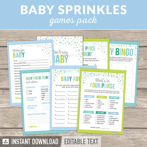 Baby Shower Games Printables for a Baby Sprinkle Party