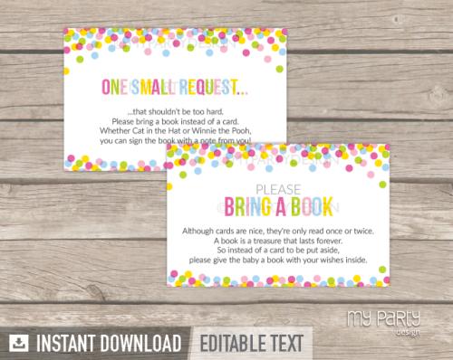 printable baby sprinkle bring a book card