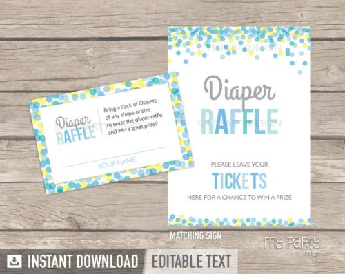 boy baby sprinkle diaper raffle tickets and sign